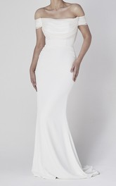 Elegant Sheath Off-the-shoulder Satin Wedding Dress With Tiers And V-back