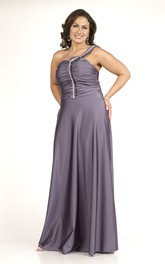 One-shoulder Sleeveless Ruched long plus size Dress With Zipper
