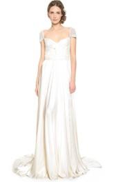 Satin Low-V Back Inspire Queen-Anne-Neck Floor-Length Dress