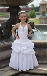 Floor-Length Ruffled Skirt Taffeta Halter Flower Girl Dress