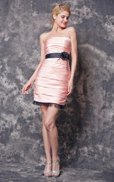 Sleeveless Ruched Short Satin Dress With Tulle Skirt Hem