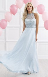High Neck Sleeveless Chiffon Prom Dress With Beading And Keyhole