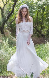 Off-the-shoulder Lace Chiffon Boho Wedding Dress With Corset Back
