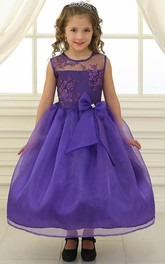 Lace Illusion Bowknot Tea-Length Flower Girl Dress