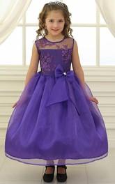 Lace Illusion Bowknot Tea-Length Flower Girl Dress
