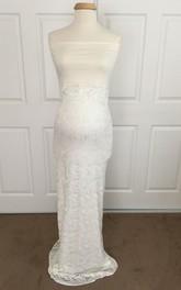 Sheath Strapless Lace Sleeveless Floor-length Jersey Lace Maternity Wedding Dress