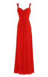 Chiffon Basque Waist Floor-Length Spaghetti-Strap Dress