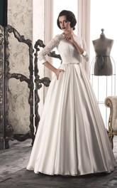 Front-Slit Bow-Slit Lace-Up Back Lace A-Line Gown