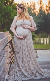 Off-the-shoulder V-neck Short Sleeve Lace Pleated Ruched Ruffled Maternity Dress