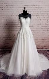 Jewel-Neckline Illusion Short Sleeves Lace A-Line Dress