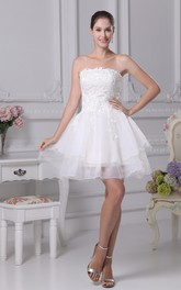 Tulle Appliqued Strapless Lovely A-Line Gown