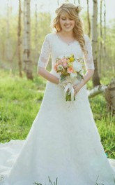 V-neck Lace Illusion Half Sleeve Wedding Gown