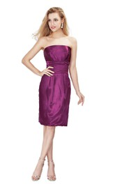 adorable Strapless Satin Sheath short Dress