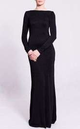 Bateau Long Sleeve Lace Sheath Dress With Deep-V Back And Split