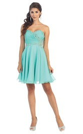 A-Line Short Sweetheart Chiffon Zipper Dress With Criss Cross And Beading