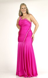 One-shoulder Sheath Ruched plus size Dress With Zipper And Pleats