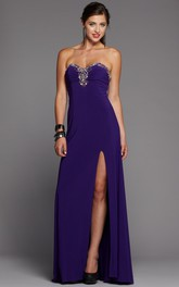 Sweetheart Jersey Front-split Prom Dress With Beading And Corset Back