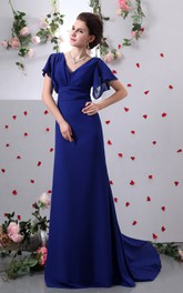 Pleated Sweep Train Caped V-Neckline-Sleeve Column Gown