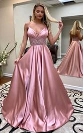 A Line Satin Spaghetti Sleeveless Floor-length Sweep Train Prom Dress With Beading