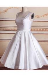 Bateau-Neck Satin 3-4-Length Short Bridal Lace Dress