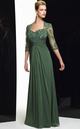 Illusion Half Sleeve Jersey Floor-length Dress With Beading