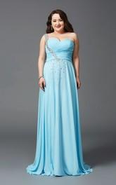 A-line Floor-length One-shoulder Sleeveless Chiffon Criss cross Beading Pleats Dress