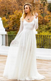 Simple Bohemian Long Sleeve A Line Lace Scoop Wedding Dress with Keyhole