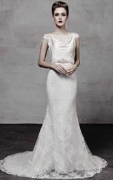 retro Bateau Cap-sleeve Sheath Dress With Lace And Embellished Waist