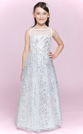 Sequin Floor-Length A-Line Jewel-Neckline Long Flower Girl Dress