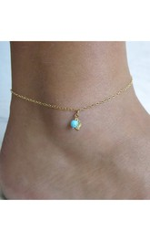Simple And Exquisite Fashion Leaves Turquoise Anklet Jewelry