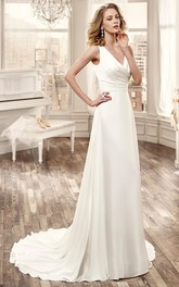 Plunged Sleeveless Chiffon side-ruched Wedding Dress With Sweep Train