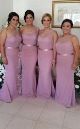 Modern One Shoulder Mermaid Bridesmaid Dress 2018 Sweep Train