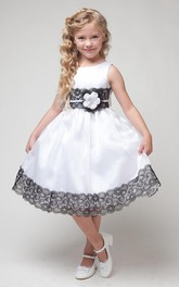 Lace Ribbon Appliqued 3-4-Length Flower Girl Dress