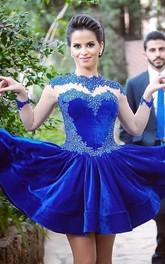 Delicate Long Sleeve Royal Blue Short Homecoming Dress Appliques