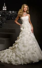 Sleeveless Cascading-Ruffled Flower Floor-Length A-Line Organza Dress