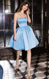 Adorable Sleeveless A Line Satin Sweetheart Homecoming Dress with Pleats