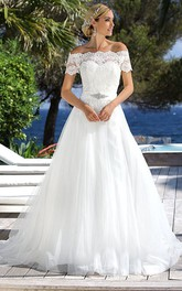Off-the-shoulder Short Sleeve A-line Tulle Wedding Dress With Lace