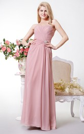 Sleeveless Chiffon Sweetheart Backless A-Line Gathered Gown