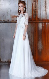 Floor-Length Lace Short-Sleeve Bateau-Neck A-Line Dress