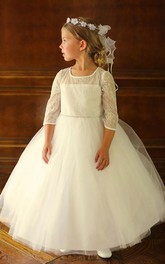 Tiered Lace Jeweled Ankle-Length Tulle Flower Girl Dress