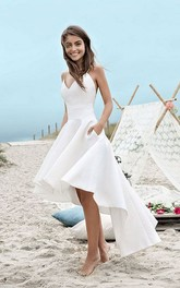 High-low Spaghetti Straps Simple Beach Wedding Dress With Ruching