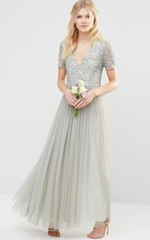 Plunged Short Sleeve Sequined Tulle Dress With Pleats