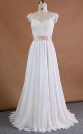 Satin Sequined Appliqued Lace Chiffon Wedding Dress