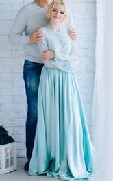 V-neck Long Sleeve A-line Pleated Floor-length Illusion Dress