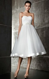 Sweetheart Criss cross Ruched A-line Tea-length Wedding Dress