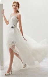 Scoop-neck Sleeveless Tea-length Lace A-line flower girl Dress