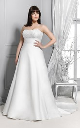 Strapless A-line Satin plus size wedding dress With Lace top And Corset Back