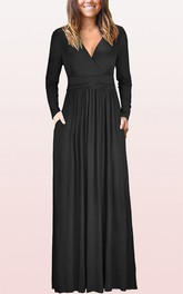 Elegant V-neck Jersey A Line Mother Formal Dress With Pockets