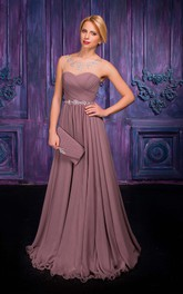 Jewel Chiffon Floor-Length A-Line Zipper Sleeveless Dress