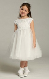 Cap-Sleeve Lace Appliqued Tea-Length Tulle Flower Girl Dress